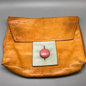 Vintage 1960's mod Saks Fifth Ave leather clutch